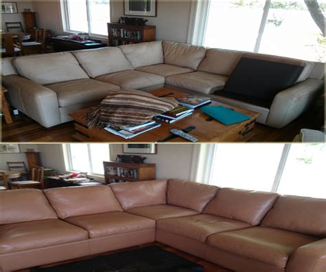 how to refinish leather couch furniture repair power recliner upholstery before and