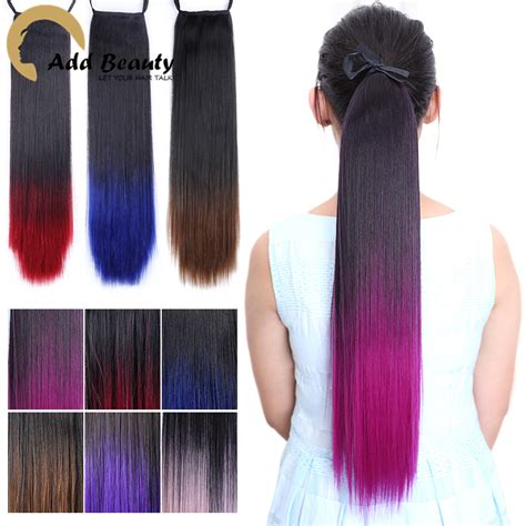 ombre african american ponytails pieces two tone straight ponytail clip in drawstring ponytail