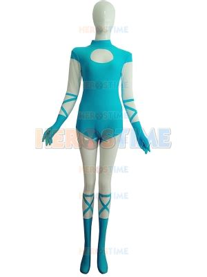 light blue costumes light blue and white spandex costume