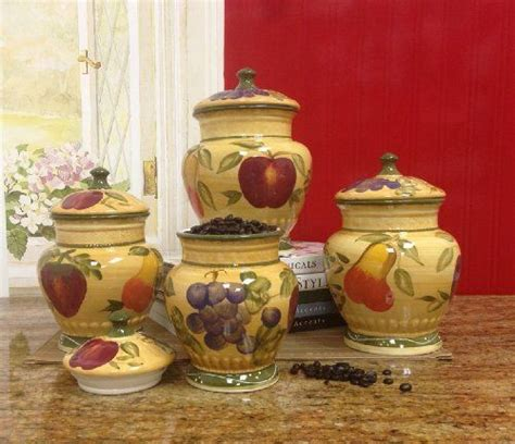 tuscan kitchen canister sets european style tuscan fruit grape kitchen 4 pc canister set new free shipping ebay