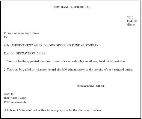 appointment letter bank chapter 4 religious offering fund