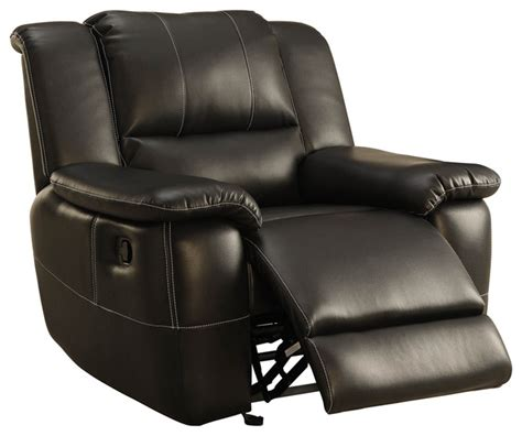 leather recliner chairs homelegance cantrell glider reclining chair in black