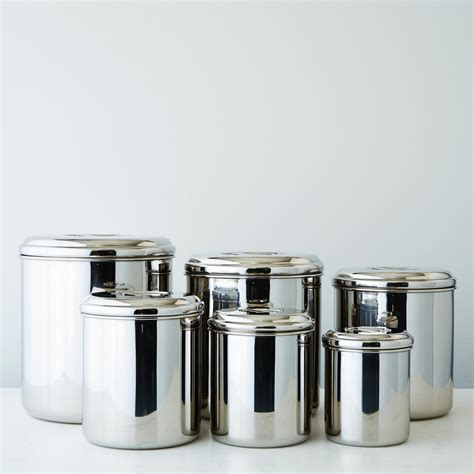 stainless steel canisters kitchen stainless steel canisters set of 6 on food52