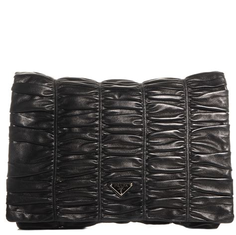 Prada Flat Ruched Clutch by Prada Nappa Dressy Gaufre Ruched Flap Clutch Nero Black 85009