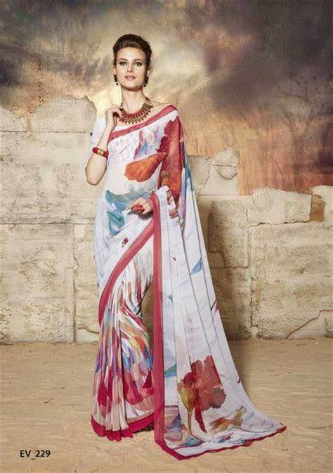 Market Place   Gorgeous White and Red Georgette Saree