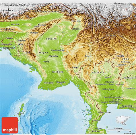 myanmar physical map physical panoramic map of burma