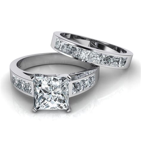 Band Wedding Ring by Princess Cut Channel Set Engagement Ring Wedding Band
