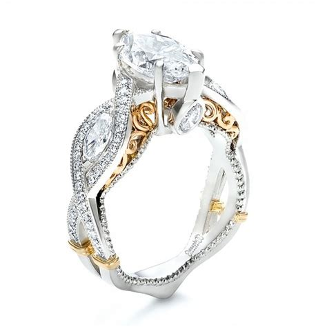 custom two tone and marquise engagement ring