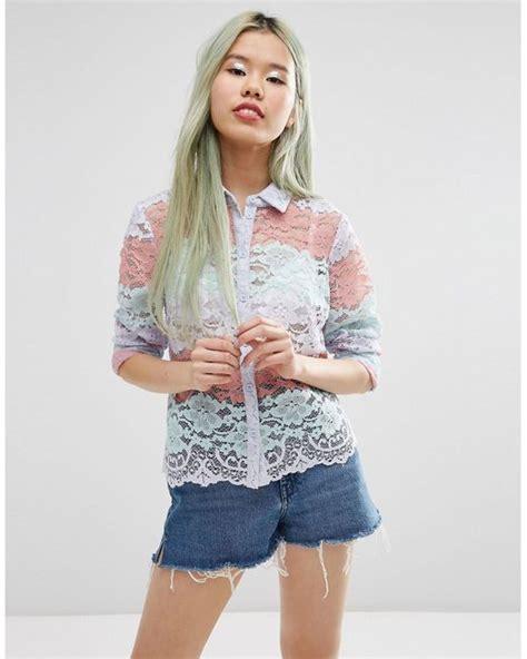 asos pastel stripe lace print blouse in white lyst