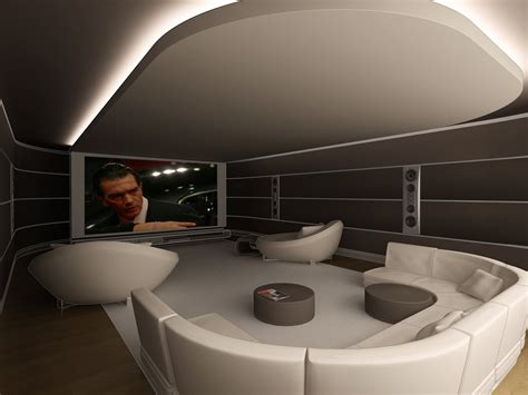 """Contemporary Home Theater with cove lighted ceiling """"cloud"""" House Decorators Collection"""