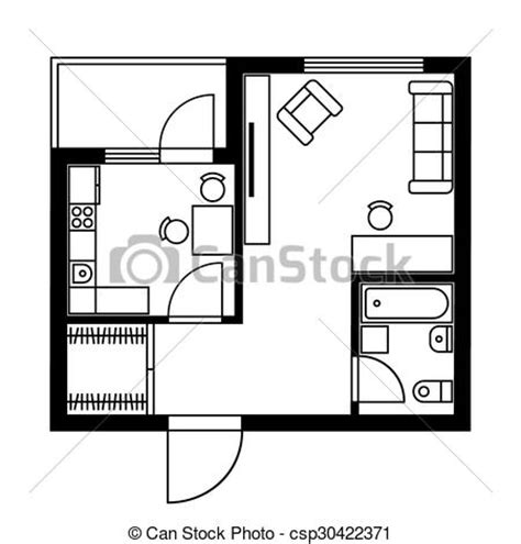 Floor Plan Logo by Vectors Illustration Of Floor Plan Of A House With