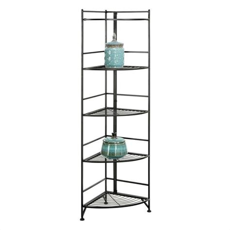 5 tier folding metal corner shelf black 8021b