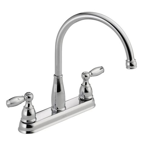 two handle kitchen faucets delta foundations 2 handle standard kitchen faucet in chrome 21987lf the home depot
