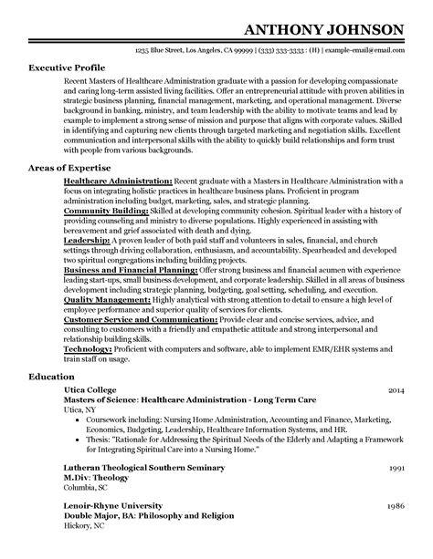 Healthcare Resume by Professional Entry Level Healthcare Administrator