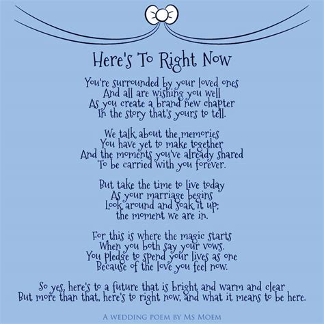 Here's To Right Now ~ Wedding Poem   Ms Moem   Poems. Life