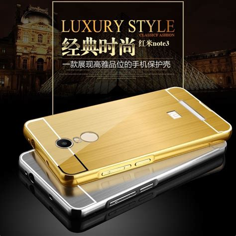 Bumper Mirror Xiomi Note 2 aluminium bumper with mirror back cover for xiaomi redmi note 3 note 3 pro kenzo black