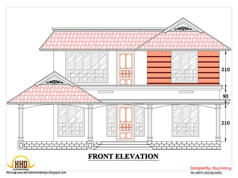 civil engineer home design 2d house plan sloping squared roof kerala home design