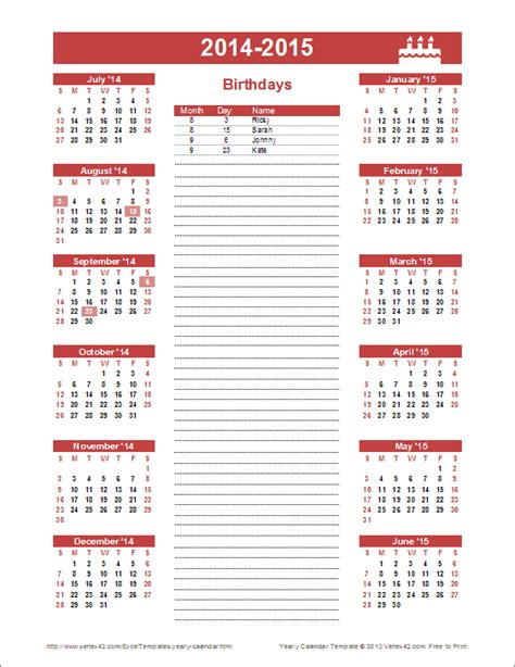 birthday calendars templates birthday calendar template yearly birthday calendar