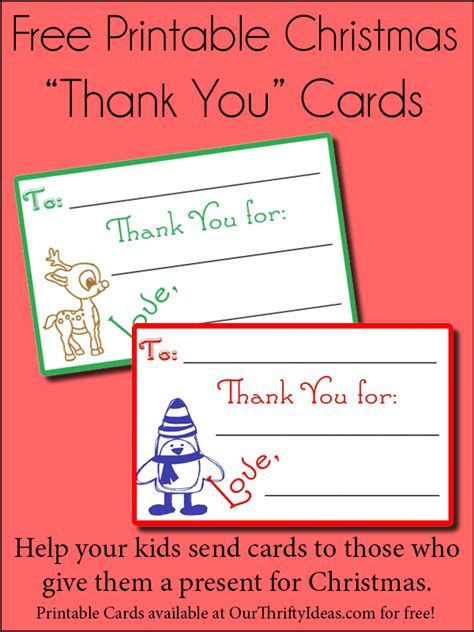 printable thank you cards for students christmas children s christmas thank you cards our thrifty ideas