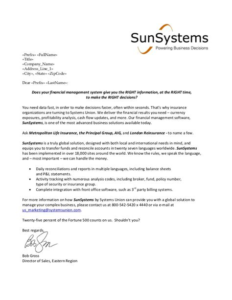 Insurance Sle Letters Financial Services Sales Letter