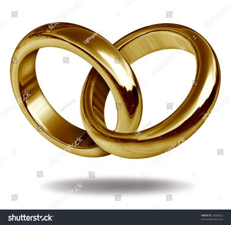 Wedding Rings Joined Together by Rings Linked Together Form Golden Shape Stock Illustration