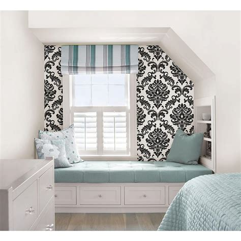 black and white damask wallpaper home depot nuwallpaper ariel black and white damask peel and stick