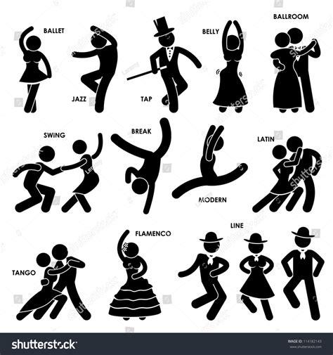 swing names dancing dancer ballet jazz tap belly stock vector