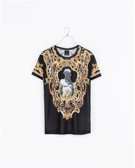 zara baroque printed t shirt in black for lyst
