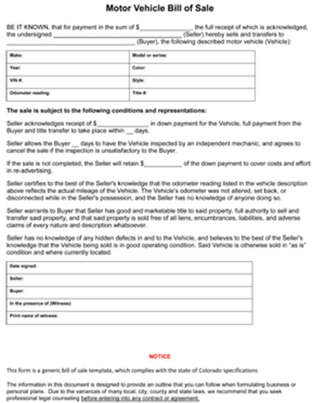 colorado car bill of sale form 8ws templates forms