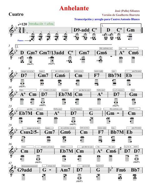 acordes el cuatro venezolano partitura anhelante cuatro venezolano camburpinton
