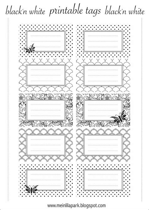 Aufkleber Beschriftung Schulsachen by Free Printable Tags Black And White Ausdruckbare