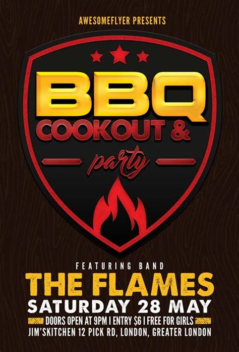 cookout flyer template bbq cookout free flyer template