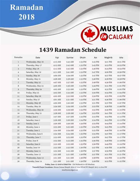 when do we start fasting 2018 prayers times muslims in calgary