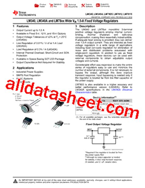 transistor lm7805 lm7805 datasheet pdf instruments