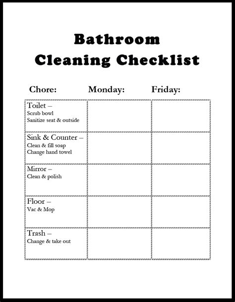 bathroom maintenance checklist bathroom cleaning checklist template