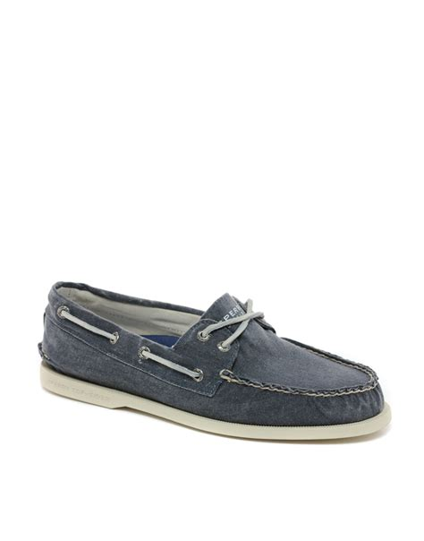 blue sperry boat shoes sperry top sider topsider washed canvas boat shoes in blue