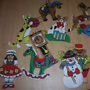 set of 12 wooden christmas ornaments paint by