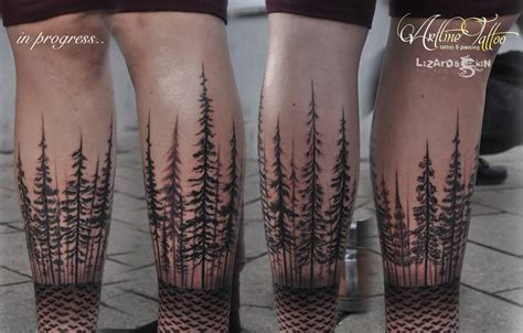 leg tree tattoo designs lower left arm dotwork forest shaded tree
