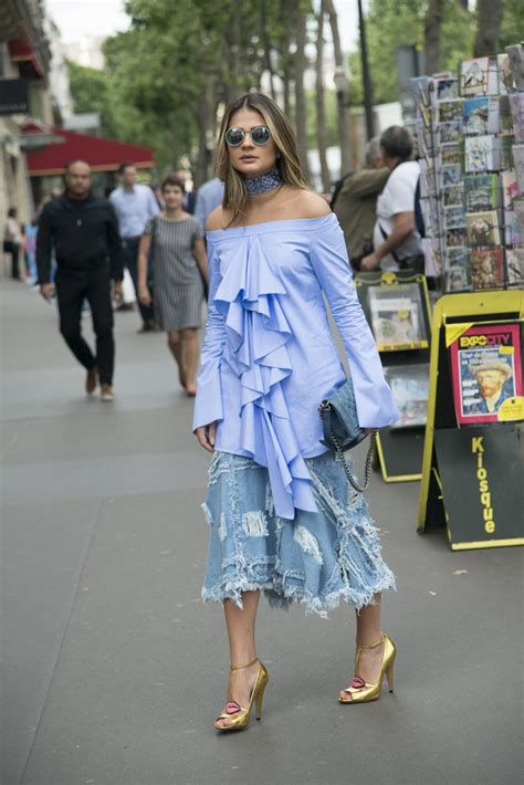 a midi ruffled denim skirt isn t a you see every day