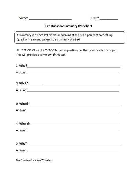 Writing A Summary Worksheet by Summary Worksheets Five Questions Summary Worksheet