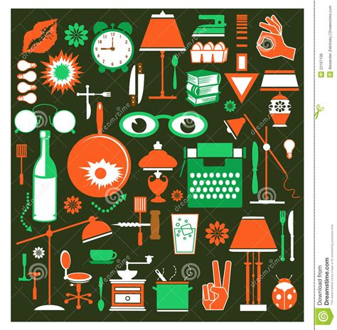 9 Pc Dining Room Set a set of household items stock vector image of dining