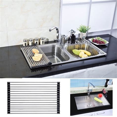 the sink dish drying rack kitchen sink organizer stainless steel folding fruit