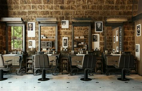 retro barber interior google search barber design