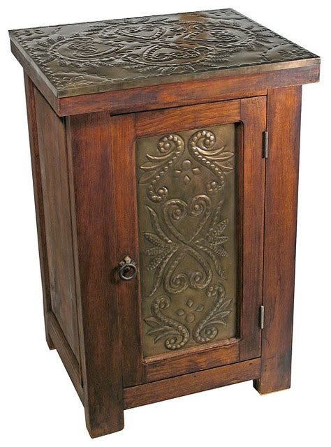 Rustic Wood Nightstand by Rustic Reclaimed Wood Tin Nightstand Rustic