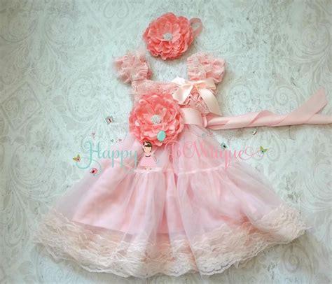 Set Flowery Dress flower dress princess flower pink chiffon lace dress