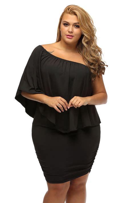 18 Angelin Black Big Size Jumbo Fit 2xl Dan 3xl plus size clothing 5x black ruffle top mini bodycon dress us size 18 20 ebay