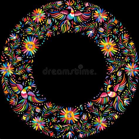 what is melissa marcos ethnic background vector mexican embroidery round frame pattern stock vector