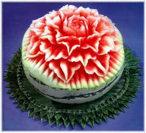 Decorative Watermelon Cutting by Floral Watermelon Carving Pattern Temple Of Thai
