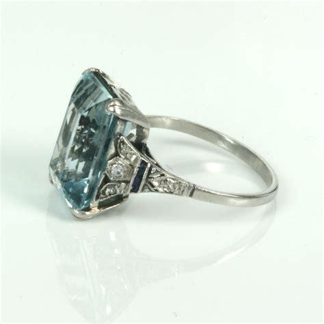 aquamarine deco engagement ring buy deco aquamarine ring in platinum sold items sold rings sydney kalmarantiques