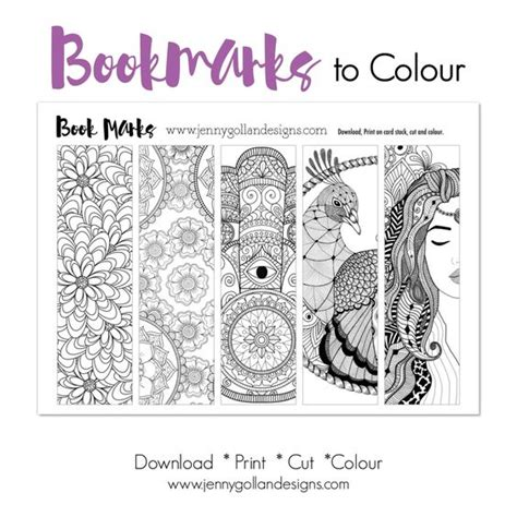 printable color your own bookmarks colour your own bookmarks printable template adult